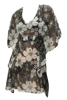 $37 La Leela Black White Floral Printed Beach Cover up KaftanFrom La Leela $37