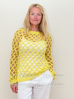 Open stitch off-shoulder sunny seine women crochet sweater / pullover crochet pattern / tutorial with step-by-step pictures, written instructions and charts.