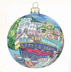 Little Italy, NYC globe Christmas ornament by Michael Storrings.