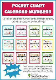chart calendar card set - includes 12 months of calendar card pieces ...