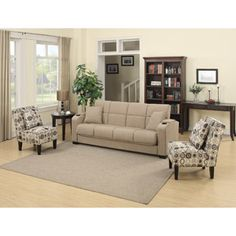 Tyler Storage Arm Convert-a-Couch and Sofa Bed Microfiber with Set of 2 Geometric Circles Dani Armless Accent Chairs