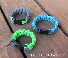 In May, Aidan went on a trip with my parents, and came home with a bracelet made out of parachute cord (also called paracord). He happily announced to us that you can take it apart if necessary and have several feet of usable rope! Since then, we've been seeing these bracelets EVERYWHERE! All of the …