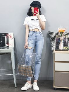 29 Korean Outfits For Teen Girls - Outfits ta Korean Girl Fashion, Korean Fashion Trends, Korean Street Fashion, Ulzzang Fashion, Korea Fashion, Asian Fashion, Outfits For Teens, Girl Outfits, Casual Outfits