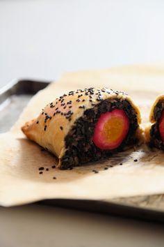 Beet Pickled Egg and Chard Empanadas with Black Sesame by lemonfirebrigade #Empanada #Egg #Chard #lemonfirebrigade