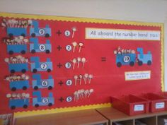 Maths display - number bonds to 10 - Train topic - Maths Display, Class Displays, Classroom Displays, Classroom Ideas, Common Core Maths, Number Bonds To 10, Kindergarten Math, Preschool, Teaching Art