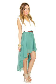 HIGH LOW CHIFFON SKIRT - Deep Mint