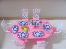 Barbie Size Dollhouse Furniture dining room with plates glasses candle NEW