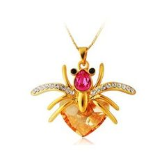 18K Plated Alloy Decorated Spider Shape Pendant Design Necklace (Golden)