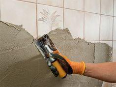"""Instead of tiles"" from the company Ultrament tiles can be plastered. - DIY renovieren & sanieren im Eigenheim - Dekoration Bathroom Spa, Small Bathroom, Cheap Tiles, Casa Clean, Tadelakt, Adhesive Tiles, Wet Rooms, Home Staging, Bathroom Renovations"