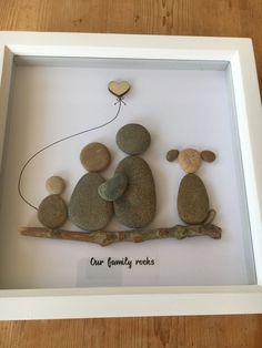 Pebble picture family, handmade in Scotland, pebble art, can customise any family combo this one has family 4 + 3 dogs Stone Crafts, Rock Crafts, Diy Arts And Crafts, Diy Crafts, Homemade Christmas Gifts, Christmas Crafts, Box Frame Art, Rock Family, Pebble Art Family