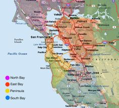 A great map that shows all the districts within the city of San     Map depicting the sub regions of the Bay Area  North Bay  East Bay