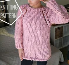 This Chunky Knit Sweater pattern has lace eyelet details and is made from the top down. Super fun, super quick knit.