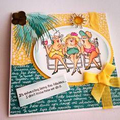 Art Impressions ... Michael's Hampton Art Ai clear stamp sets ... SC0653 Ai Beach Babes ... Handmade beach themed girlfriends card.