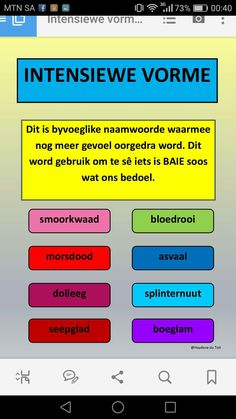 Intensiewe vorme Education English, Teaching English, Teaching Aids, Teaching Resources, Multiplication Anchor Charts, Afrikaans Language, Afrikaans Quotes, Abc For Kids, School Worksheets