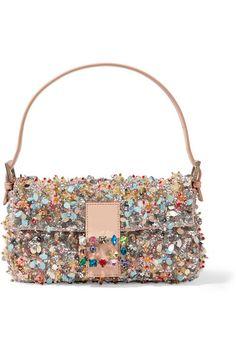 4f45facd887 FENDI Baguette Embellished Satin-Twill Shoulder Bag.  fendi  bags  shoulder  bags