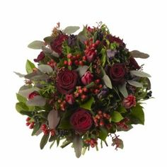 Rose and Anemone Posy - Black Bacarra Roses, Purple Anemones, Red Hypericum and Red Tulips.