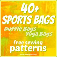 Here is a collection of free sewing patterns / tutorials for sports bags! This collection contains sewing patterns / tutorials from. Sewing Patterns Free, Free Sewing, Sewing Tutorials, Sewing Projects, Bag Patterns, Sewing Ideas, Carpet Bag, Yoga Bag, Diy Purse