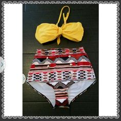 New hi waist bikini Aztec pattern, size xl. Can fit large. Liner in tact. Removable pads and straps Swim Bikinis
