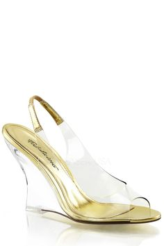 Clear plastic upper in a slingback design, single sole, faux leather trim, peep toe, and clear wedge. 4 inch wedge heels.