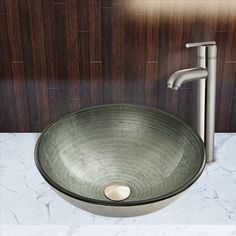 Simply Glass Vessel Sink and Seville Faucet Set