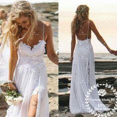 Hey, I found this really awesome Etsy listing at https://www.etsy.com/listing/187582310/spaghetti-strap-beach-wedding-dresswhite