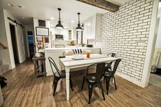 A Modern White Kitchen - Mutual Materials Key Design, Interior Inspiration, Craftsman, Fence, Brick, Dining Table, Interiors, Black And White, Interior Design