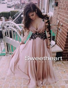 Unique chiffon lace long prom dress 2016 for teens, modest prom dress