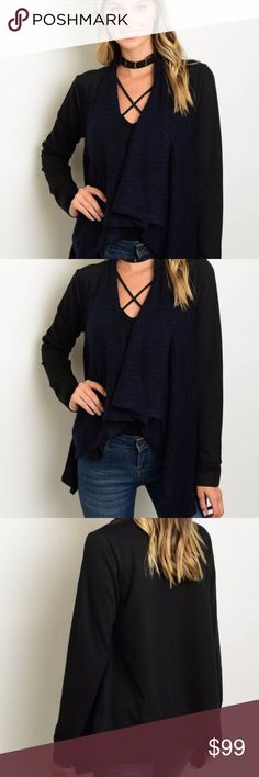 New Arrival! Navy and Black Waterfall Cardigan Perfect for fall two toned draped waterfall cardigan. This cardigan features long sleeves, an open waterfall front and relaxed sleeves. Sweaters