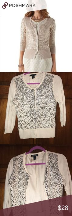 WHBM SEQUIN CARDIGAN Super cute & stylish! Perfect to add a little shine to any outfit! I good condition! •Will ship ASAP •All offers considered BUT prices are firm UNLESS bundled •No trades, sorry! •Questions? Ask way! •5 star seller •Mix & Match to save! (Any 2 items in my closet are 10% off) White House Black Market Sweaters Cardigans