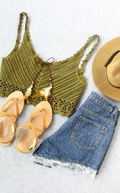 Tie-Neck Crop Crochet Cami Top - Olive Green