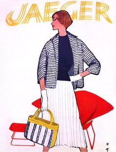 Jaeger advertisement illustrated by René Gruau, 1957 Fashion Gallery, Fashion Art, Vintage Fashion, Fashion Design, 1950s Fashion, Jacques Fath, Pierre Balmain, Illustrations, Illustration Art