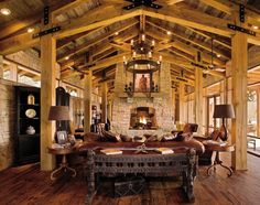 Decorations:Traditional Living Room With Rustic Wood Ceiling Also Leather Coated Sofa And Sandstone Fireplace Kitchen Decor With Rustic Country Decorating Style