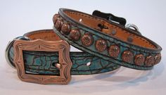 """3/4"""" Wide Dog Collar in Turquoise Gator with Copper Dots by Running Roan Tack"""