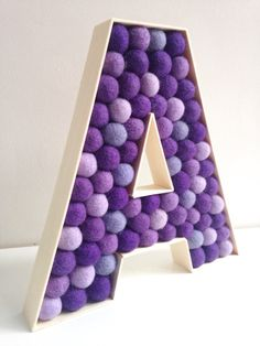 Nursery Letter A. Kids Room Letter A. Felt Ball by hoppsydaisy