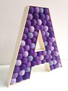 Nursery Letter A. Kids Room Letter A. Felt Ball by hoppsydaisy