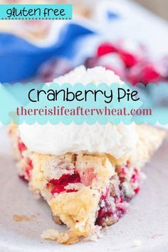 This gluten free cranberry pie is a delicious way to take the fuss out of pie-baking! It is baked in a pie pan and has a beautifully tender cake-like texture. beautiful, festive-looking pie with sugared cranberries and toasted pecans enveloped in a beautiful filling similar to cake. Best Gluten Free Desserts, Gluten Free Pie, Gluten Free Recipes For Breakfast, Gluten Free Treats, Fall Recipes, Holiday Recipes, Cranberry Pie, Sugared Cranberries, Pie Pan