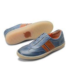 This Dark Blue & Orange Maros Slip-On Leather Sneaker   - Men is perfect! #zulilyfinds