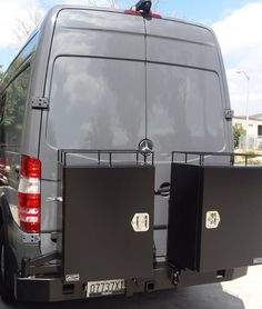 Sprinter van with Aluminess rear bumper and double box swing arms.  Two Deluxe boxes for storage!