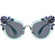 Miu Miu Embellished Cat-Eye Sunglasses (3 305 SEK) ❤ liked on Polyvore featuring accessories, eyewear, sunglasses, glasses, one color, embellished sunglasses, transparent glasses, cat eye sunglasses, cat eye glasses and see through sunglasses