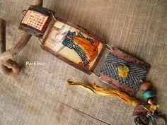 Bracelet bohème,vintage~Rendez-vous~style asiatique,hipster,tweed et soie safranée : Bracelet par rare-et-sens