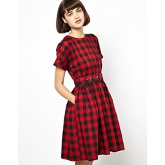 Antipodium Hatchet Dress in Red Lumberjack Check ($212) ❤ liked on Polyvore featuring dresses, red cotton dress, woven dress, red day dress, antipodium and belted dress