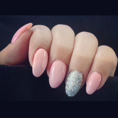 Baby pink acrylic nails  Silver ring finger