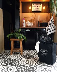 Black appliances really pop in this laundry room by @ireneburg7! Click the image to try our free home design app. Keywords: laundry room ideas, interior design patter, flooring ideas, floor design, black interior design, house plants, wall decor, house painting ideas interior, home decor accessories, decorative home accessories, unique home design, home inspiration decoration, creative ideas for the home, home decoration creative, home decor storage ideas, house storage ideas, design inspo Black Interior Design, House Paint Interior, Laundry Room Inspiration, Unique House Design, Black Appliances, Vash, Laundry Room Design, Floor Design, Home Decor Accessories