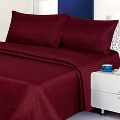 Searching bedroom furniture inspiration... Deluxe 4 Piece Microfiber Sheet Set (King, Burgundy) - http://aluxurybed.com/product/deluxe-4-piece-microfiber-sheet-set-king-burgundy/