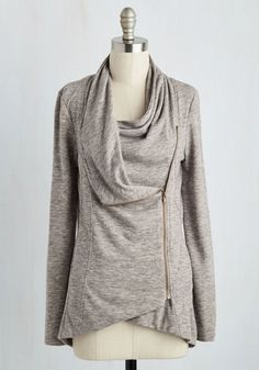 Airport Greeting Cardigan in Oatmeal - Jersey, Cream, Solid, Casual, Long Sleeve, Exposed zipper, Pockets, Cowl, Variation, Travel, Basic, Best Seller, Fall, Winter, White, Long Sleeve, Knit, Spring, Gals, Maternity, Mid-length, Athletic, Top Rated, Tis the Season Sale, Gifts2015, Lounge