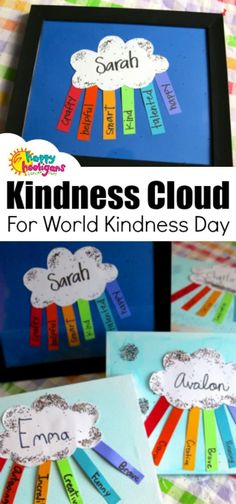 """Framed Kindness Cloud for kids to make for a friend for World Kindness Day. This easy paper craft makes a thoughtful gift for a young child to give to a friend. - Framed """"Kindness Cloud"""" Craft for World Kindness Day - Happy Hooligans Paper Craft Making, Paper Crafts For Kids, Easy Crafts For Kids, Toddler Crafts, Preschool Crafts, Crafts To Make, Fun Crafts, Art For Kids, Simple Crafts"""