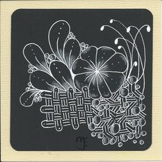 thehappytangler: Day of One Zentangle a Day Zentangle Drawings, Doodles Zentangles, Zentangle Patterns, Doodle Drawings, Zen Doodle, Doodle Art, Automatic Drawing, Ballpoint Pen Art, Z Cards