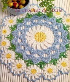 Je vous présente des napperons ronds que j'ai eu le plaisir de crocheter ! Vous trouverez pour chaque modèle la photo , son schéma et mon ouvrage terminé. Voici un joli napperon coloré , orné de petites fleurs Grille au crochet n° 1,25 à 1,50 Grille des...