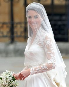Wedding Date: April 29, 2011Groom: Prince WilliamVenue: Westminster Abbey, London, EnglandWhen you have an estimated 1 million people lining up on the streets of London, an estimated 2 billion viewers tuning in to watch you on television, and 1,900 guests congregated to witness your I do's, nothing short of perfection will do. Sarah Burton for Alexander McQueen delivered that and then some with Kate's wedding ensemble, which included a veil made of layers of soft ivory silk...