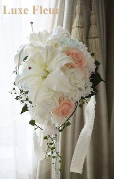 大人気♪カサブランカのティアドロップブーケ♪ |Luxe Fleur Diary~プリザーブドフラワーとアーティフィシャルフラワー(造花)のブライダルブーケのショップ